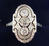 Gorgeous art deco 18ct white gold diamond three stone vintage antique ring